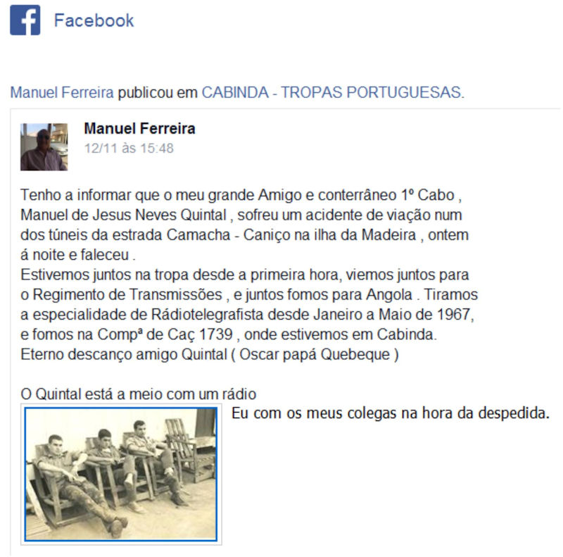 Faleceu o veterano Manuel de Jesus Neves Quintal, 1.º Cabo Radiotelegrafista, CCac1739 - 11Nov2016 Manuel10