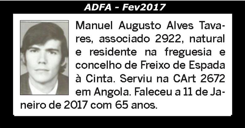 Notas de óbito publicadas no jornal «ELO» da ADFA, do mês de Fev2017 Manuel16