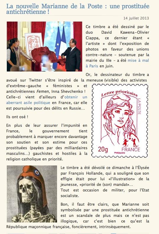 La nouvelle Mariane de la poste 14 juillet 2013, le timbre Femen ne passe plus !en janvier 2014 Clicha32