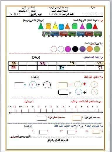 نماذج اسئلة الرياضيات التحريري للصف الاول الابتدائي فى العراق 2018 1211