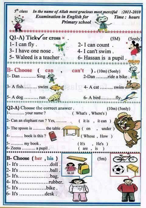 نماذج اسئلة اللغة الانكليزية للصف الخامس الابتدائي نصف السنه 2018 1328