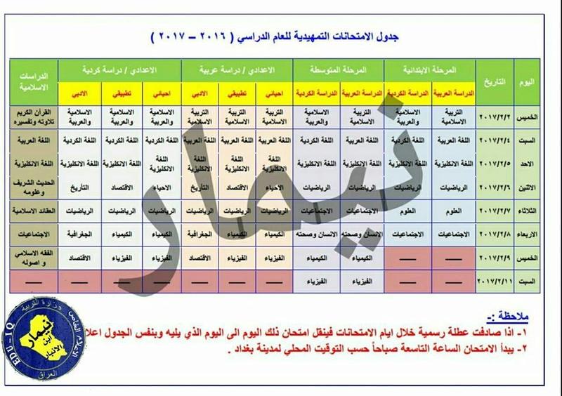 جدول الامتحانات التمهيدية لجميع المراحل 2016 / 2017   15895210