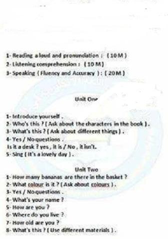 اسئلة الامتحان الانكليزي الشفوي الصف الخامس الابتدائي لنصف السنة للعام الدراسي 2018  1815