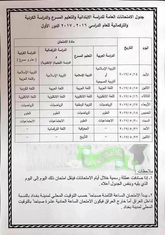 جدول مواعيد الامتحانات العامة للدراسة الابتدائية السادس الابتدائى  والتعليم المسرع الدور الاول 2017  6pri10