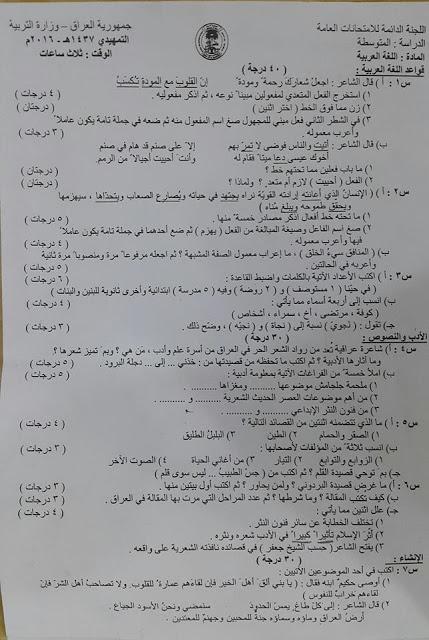 أسئلة التمهيدى للغة العربية للثالث المتوسط 2016 Y10