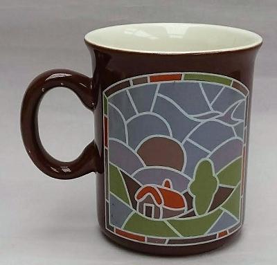 Leadlight mug with house Leadli10