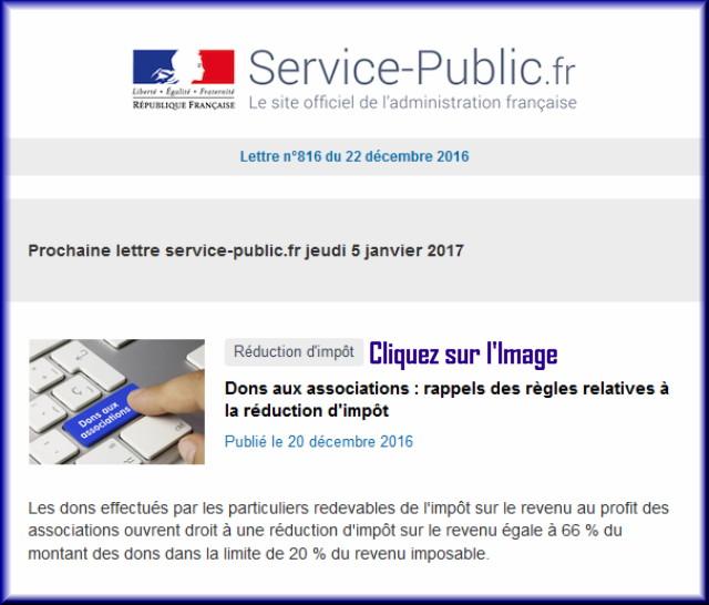 """La lettre N° 816 de """"Service Public"""" pour le 22 Décembre 2016 81610"""