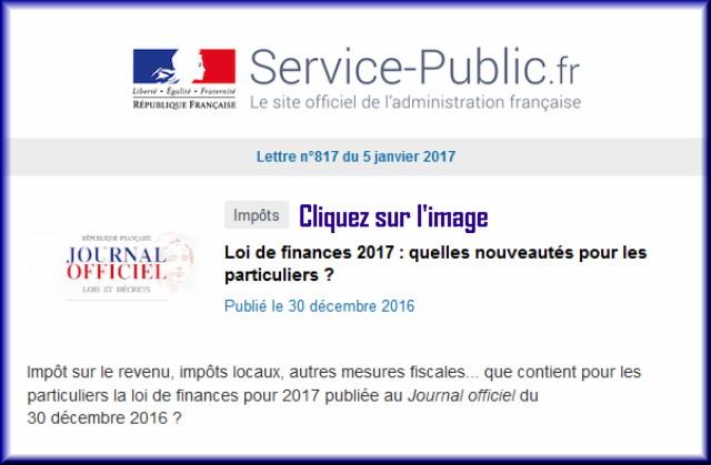 """La lettre N° 817 de """"Service Public"""" pour le 05 Janvier 2017 81710"""