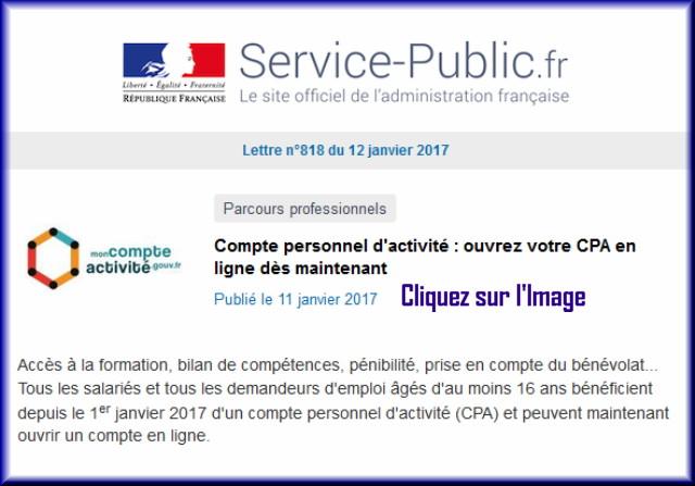 """La lettre N° 818 de """"Service Public"""" pour le 12 Janvier 2017 81810"""