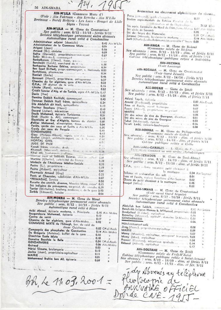 Ain M'lila sur l'annuaire téléphonique de 1955 Ain_m_18