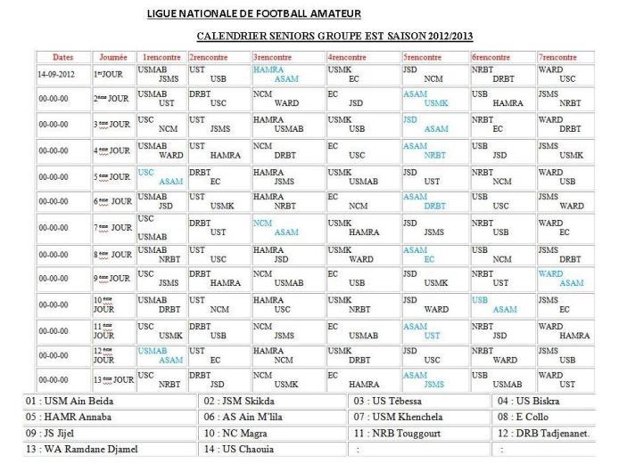 Calendrier d'Inter ligues - Groupe Est As_ain10