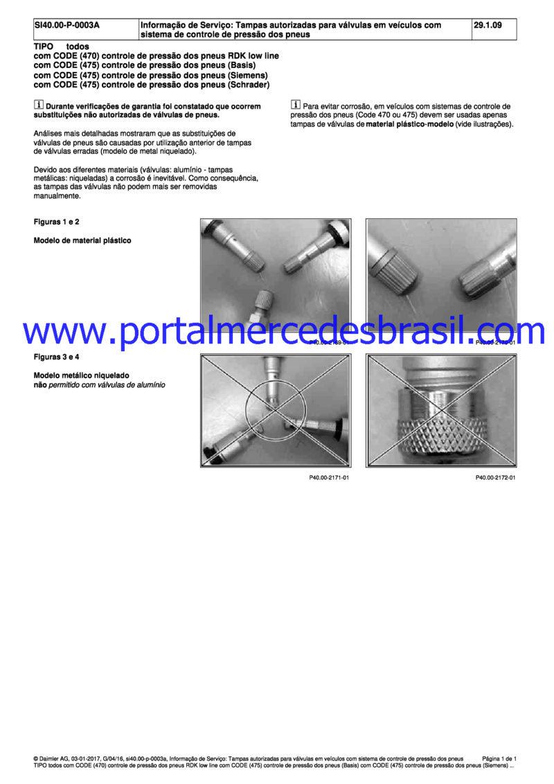 (Informação de Serviço) Tampas autorizadas para válvulas em veículos com sistema de controle de pressão dos pneus Md_tam10