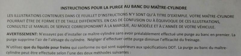 Instructions de purge au banc, d'un maitre-cylinde (Master cylinder) 2017-015
