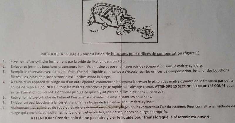 Instructions de purge au banc, d'un maitre-cylinde (Master cylinder) 2017-020
