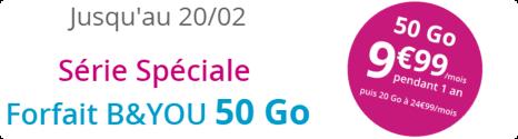 Forfait B&YOU 50 Go à 9,99€/mois pendant 1 an 14867410