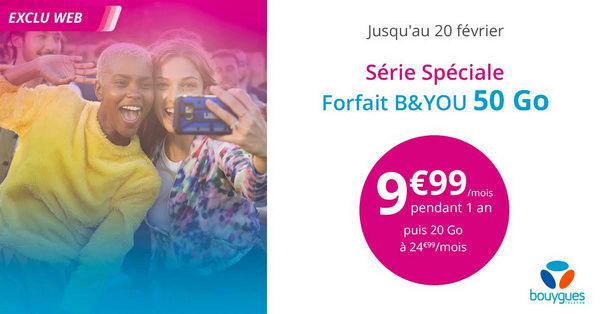 Forfait B&YOU 50 Go à 9,99€/mois pendant 1 an Bandyo11