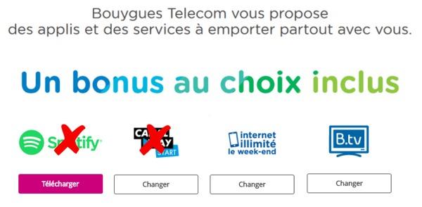 Bouygues Telecom propose 2 nouveaux Bonus, mais suprime Spotify et Canal Play Bonuss10
