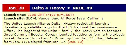 Delta-4H (NROL-49) - 20.1.2011 Delta410