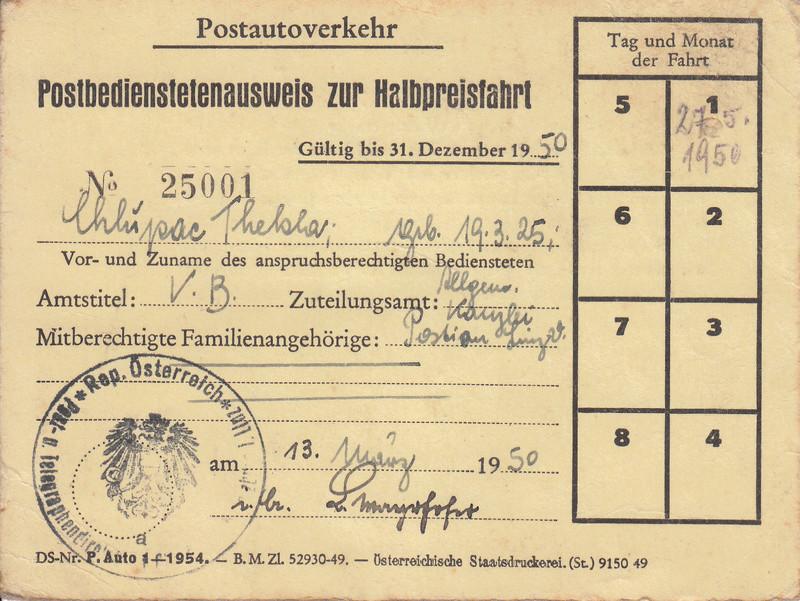 Postbedienstetenausweis zur Halbpreisfahrt - Ausweisgebühr Img37