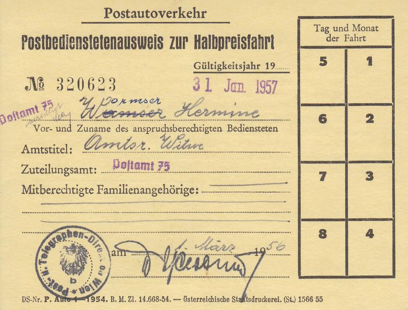 Postbedienstetenausweis zur Halbpreisfahrt - Ausweisgebühr Img38