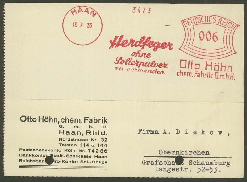 1945 - Freistempel / Absenderfreistempel Deutsches Reich (bis 1945) Haan_110