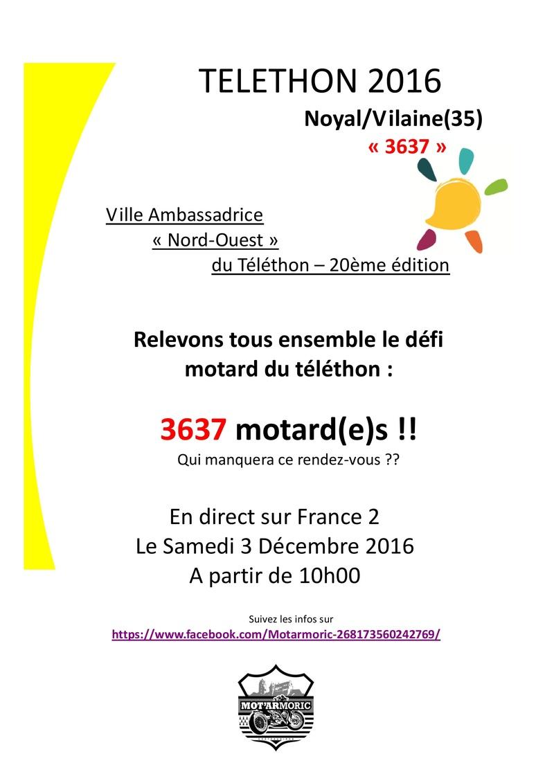 téléthon noyal sur vilaine 3637 motards le 3 / 12/16 Affich10