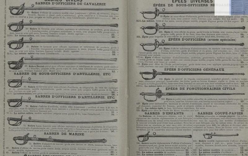 Sabres et épées proposés par la Manufacture d'Armes de Saint Etienne Sans_t25