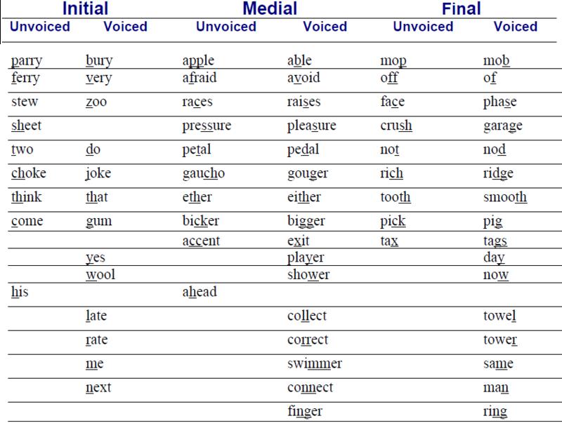 Voiced Consonants? Unvoiced Consonants? 711