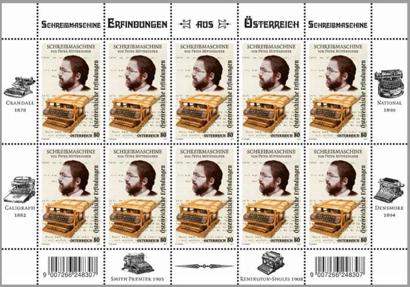 """Sondermarke """"Schreibmaschine – Peter Mitterhofer"""" Kleinb10"""