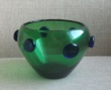 green glass vase, blue prunts Green_10