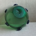 green glass vase, blue prunts Green_11