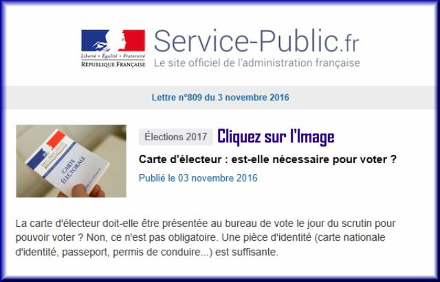 """La lettre N° 809 de """"Service Public"""" pour le 03 Novembre 2016 80910"""