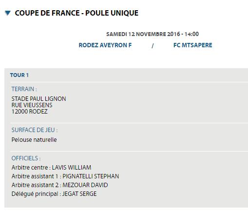 COUPE DE FRANCE 7ème Tour [  RODEZ (CFA)  - MTSAPERE FC(DH)  Mayotte ] Le 12 novembre à 14H00  Cfarod12