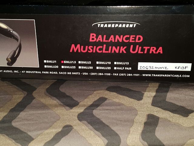 Transparent MusicLink Ultra mm2 XLR Cable, 1.5meter(Used) Tmusic11