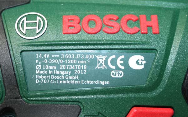 Perceuse/visseuse sans fil Bosch PSR 14.4 LI-2 Plaque11