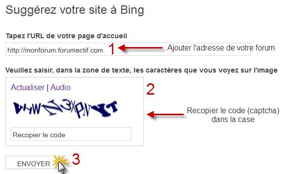 Proposer son forum aux moteurs de recherche Bing111