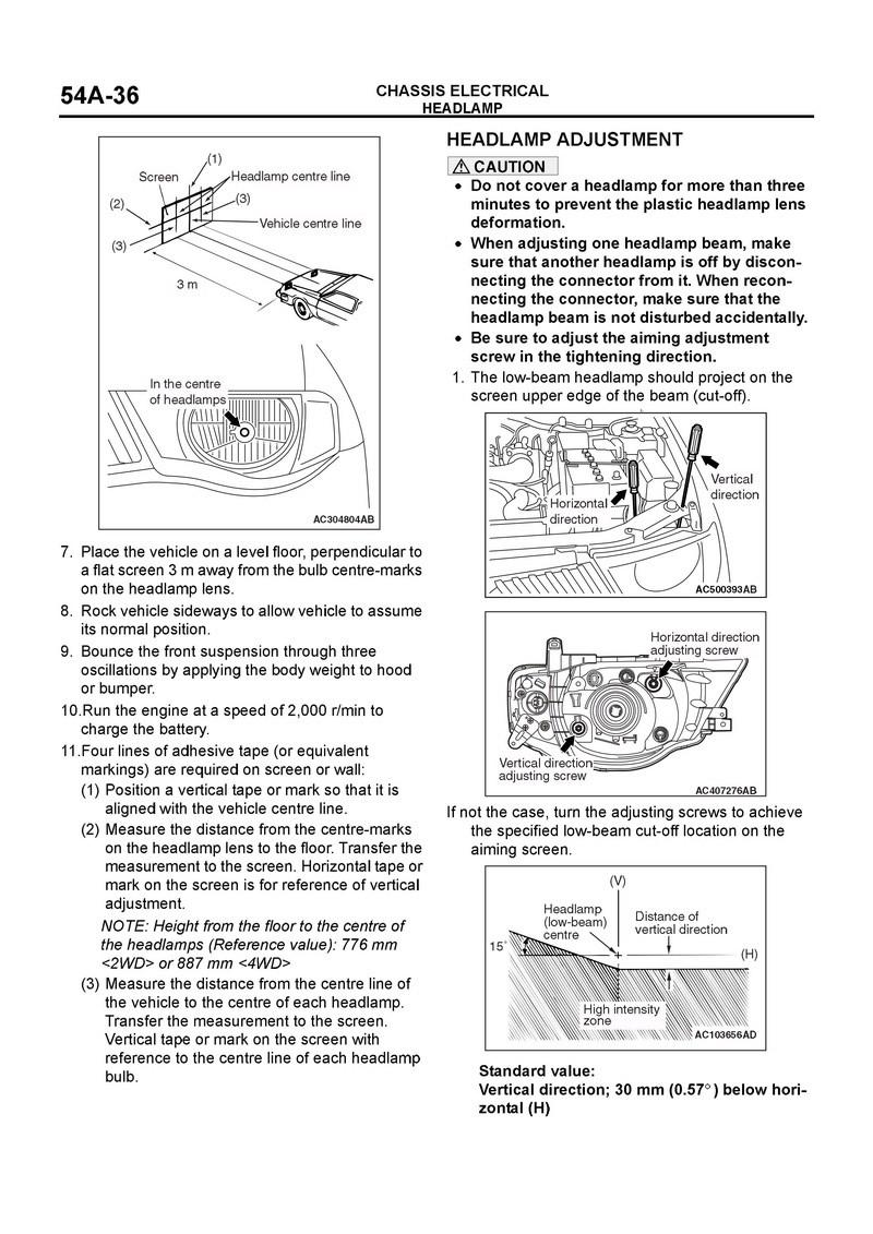 Regulación de luces delanteras de Tritón 2011 000110
