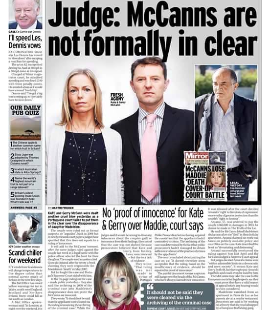 "Daily Mail headline: ""McCanns HAVEN'T been cleared"":  Clarence Mitchell did not want to respond to request for comment last night - Page 2 Judge10"
