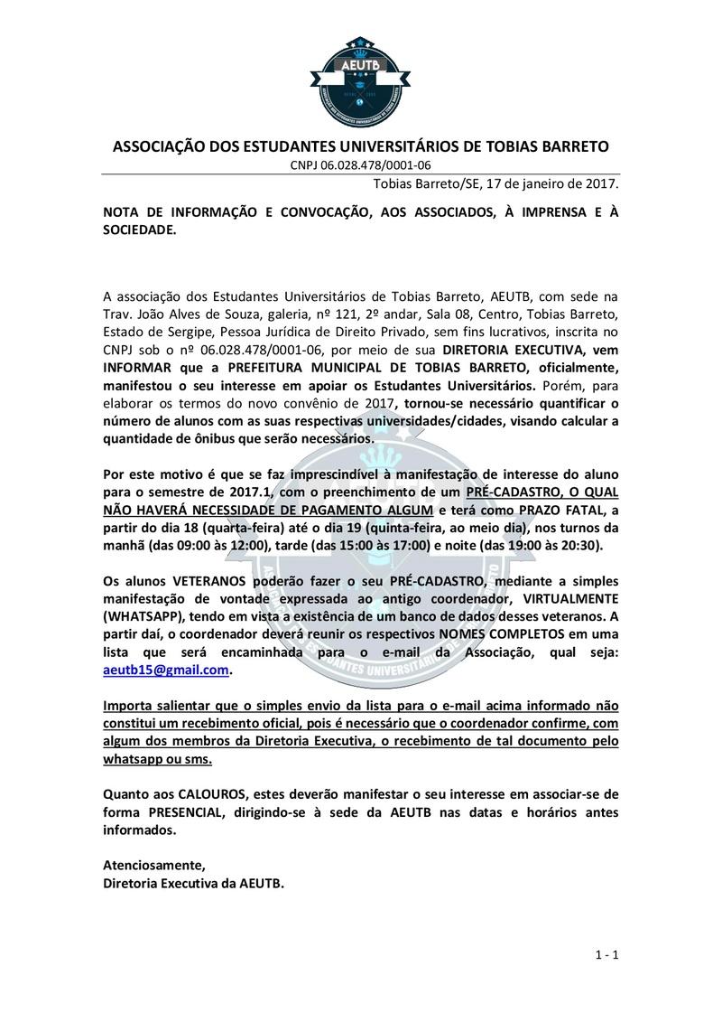 NOTA DE INFORMAÇÃO E CONVOCAÇÃO, AOS ASSOCIADOS, À IMPRENSA E À SOCIEDADE Nota_d10