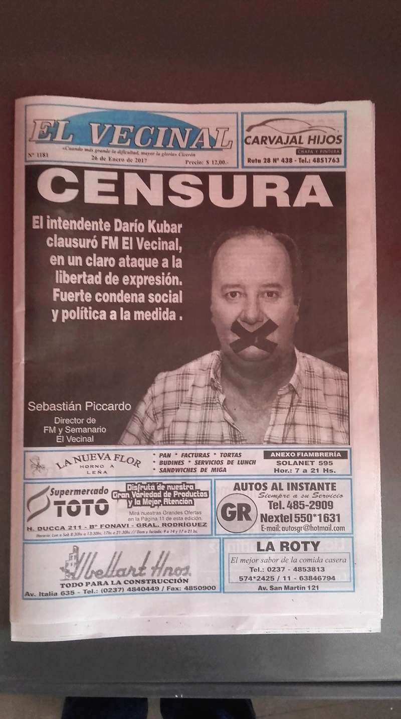 General Rodríguez. Tras la censura El Vecinal sacó una edición especial de su semanario. 00124