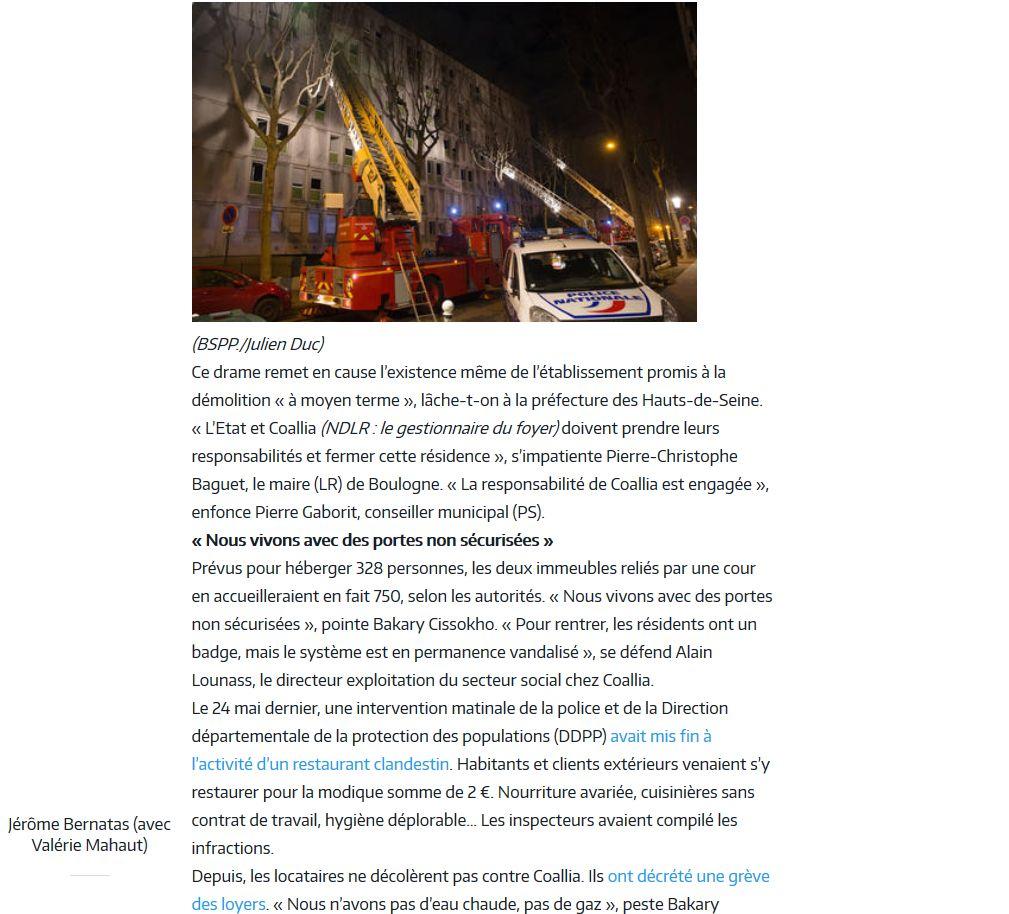 Incendie foyer des jeunes travailleurs rue Nationale Clipb212