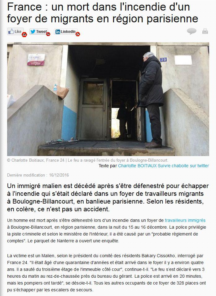 Incendie foyer des jeunes travailleurs rue Nationale Clipb224
