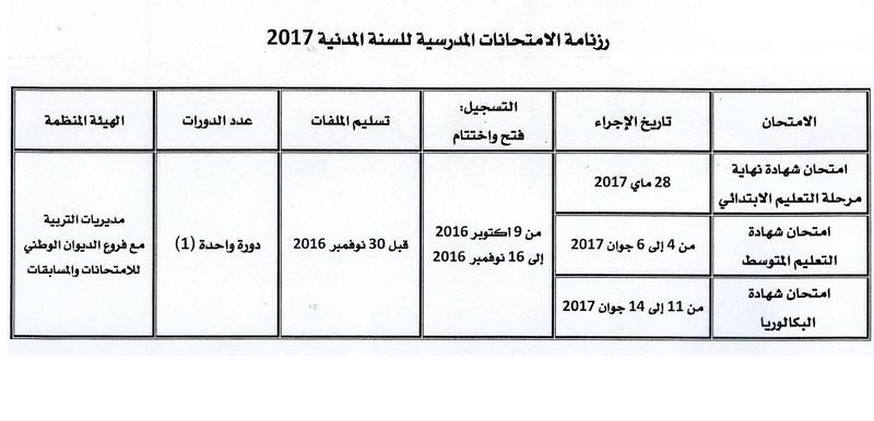 رزنامة الامتحانات المدرسية 2016/2017 110