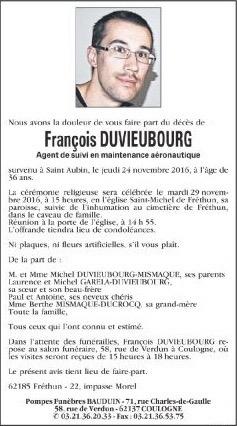 François Duvieubourg nous a quittés Annonc10