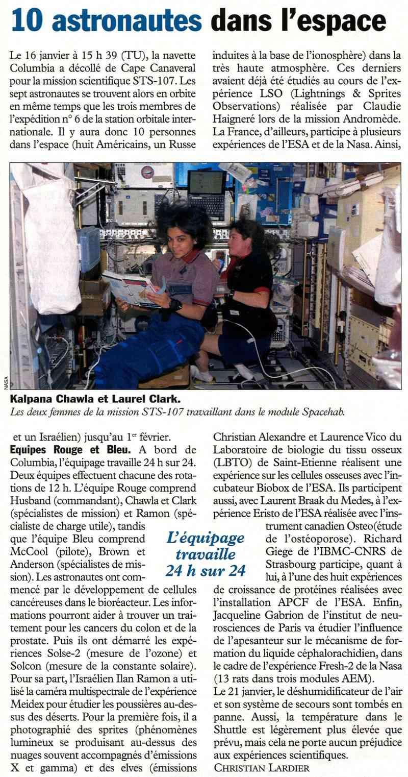 STS 107 - dernier vol de Columbia 03012410