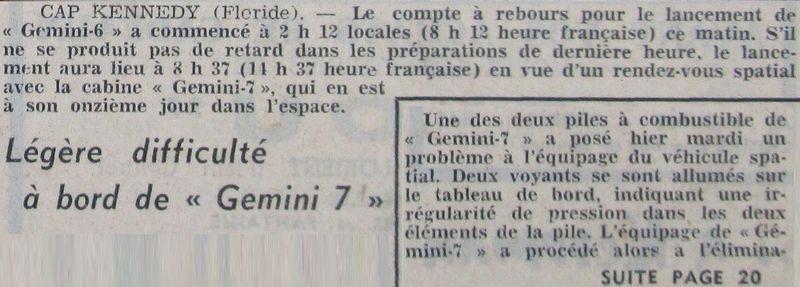 4 décembre 1965 - lancement de Gemini 7 65121612