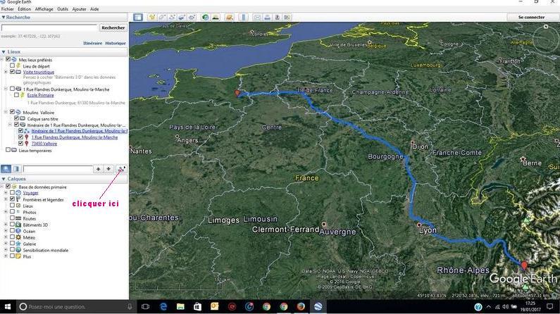 survol d'in itinéraire google maps importé dans google Earth Clic10