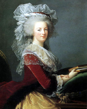Portrait de la Reine au livre en robe rouge Marie-10