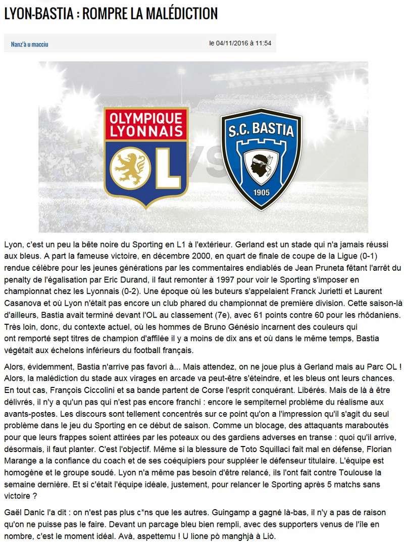 Avant match : Lyon - Bastia S11