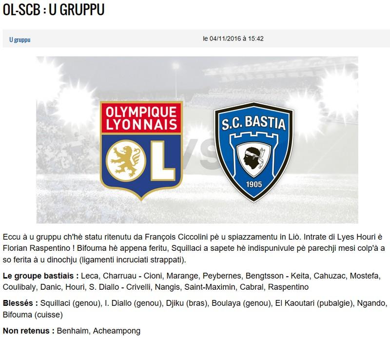 J12 / Jeu des pronos - Prono Lyon-Bastia S12